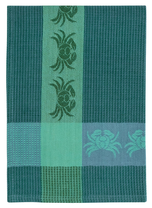 Blue Green Crab Waffle Weave Towel