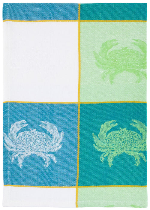 Blue White Green Crab Waffle Towel