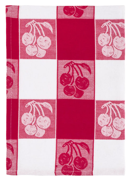 Red White Cherry Jacquard Dish Towel