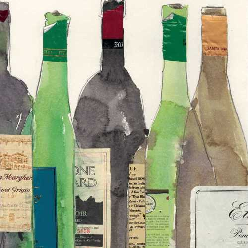 Watercolor Wine Bottles Paper Cocktail Napkins