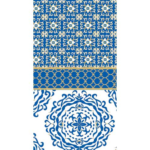 Blue and White Geometric Paper Guest Towels