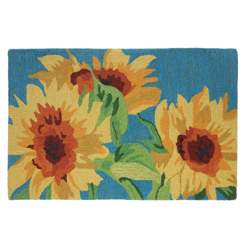 Sunflowers On Teal Kitchen Rug