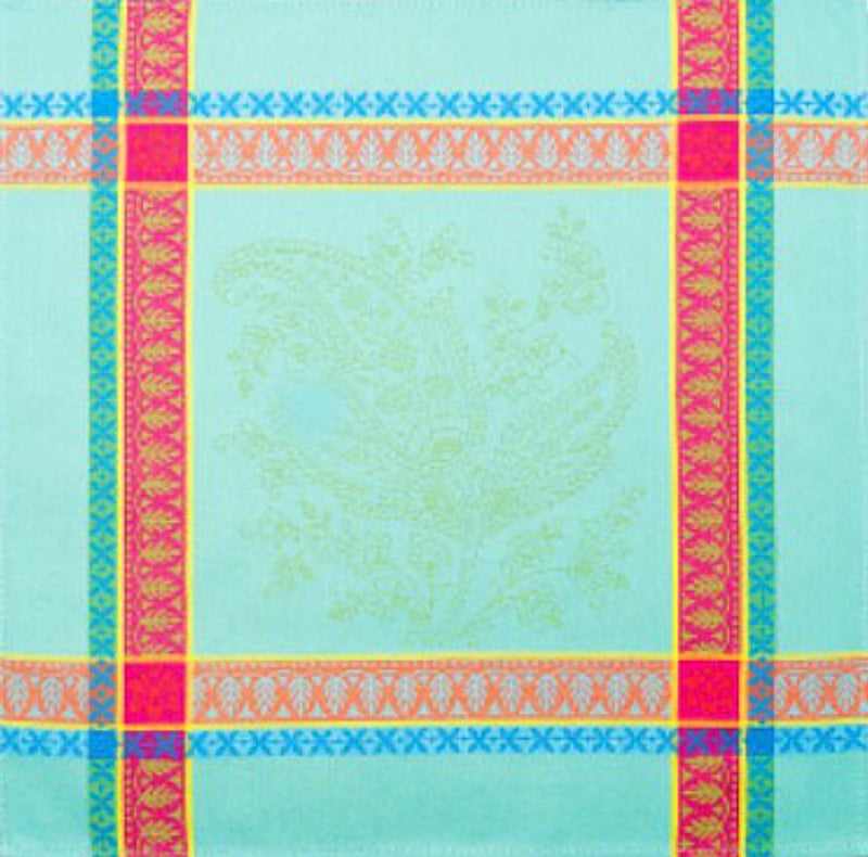 French Made Turquoise Striped Jacquard Cloth Napkin