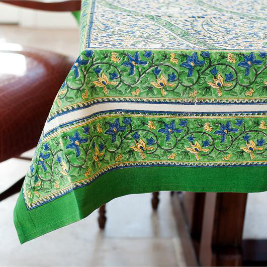 Green Paisley 55 X 55 Cotton Block Print Tablecloth