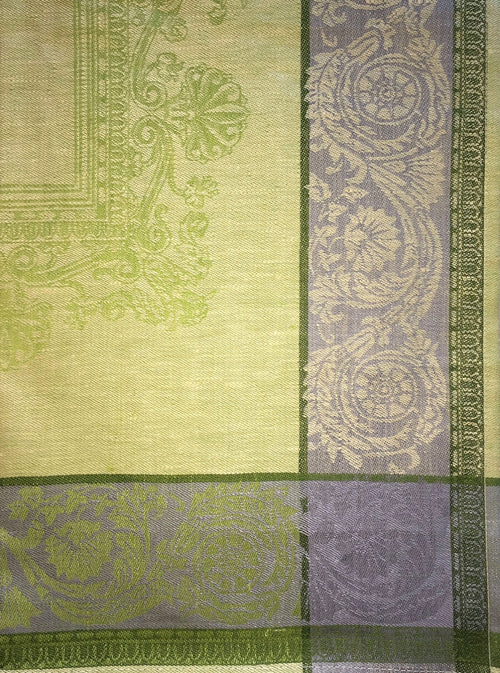 Light Green and Yellow Russian Jacquard Dish Towel