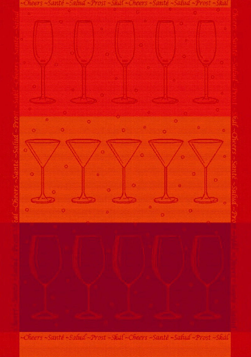 Red Orange Martini Cotton Tea Towel