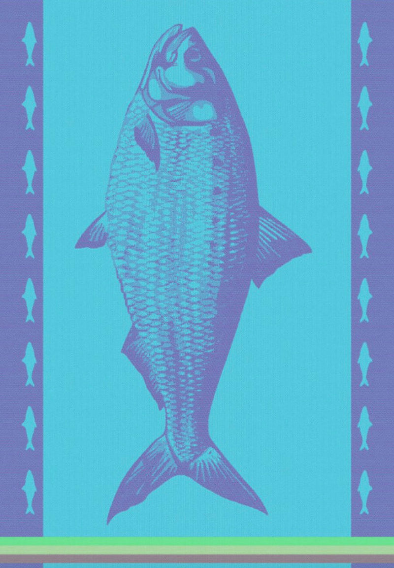 European Blue Aqua Fish Cotton Dishtowel