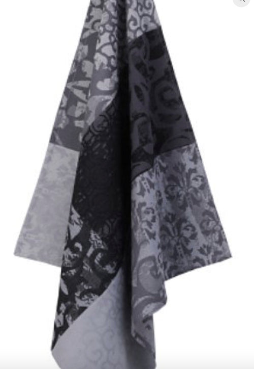 Black Gray Cotton Jacquard Kitchen Towel