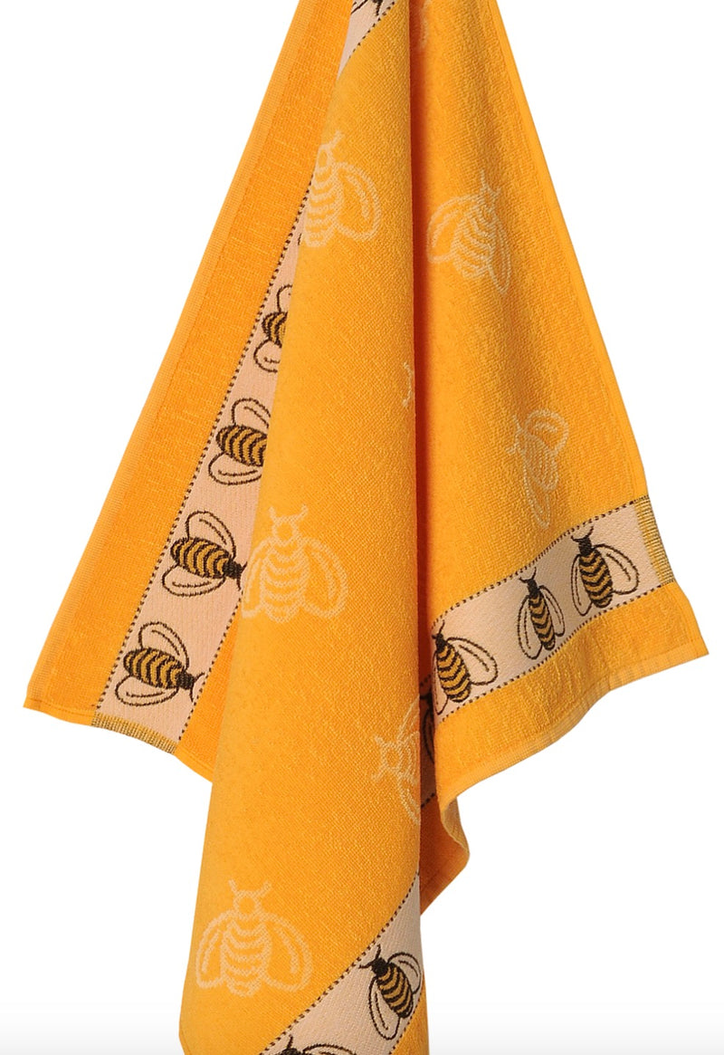 Terry Cloth Golden Yellow Bee Kitchen Towel