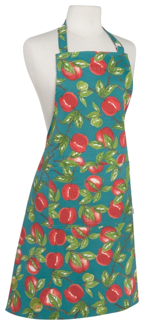 Teal Apples Cotton Apron