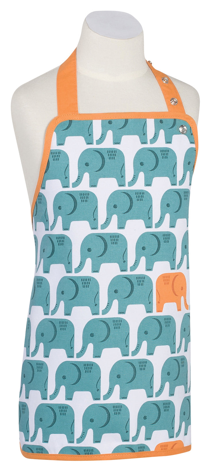 Turquoise Orange Elephant Childs Apron