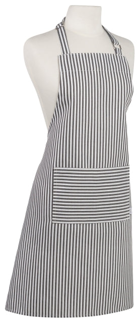 Black Narrow Stripe Cotton Apron