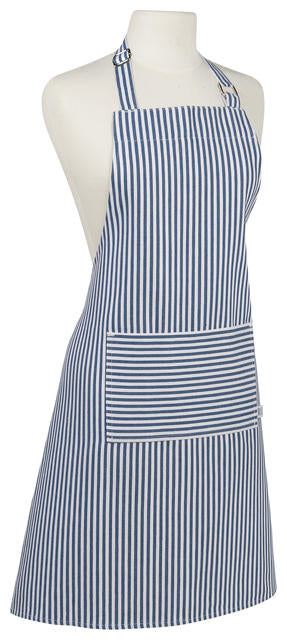 Narrow Stripe Blue Cotton Apron