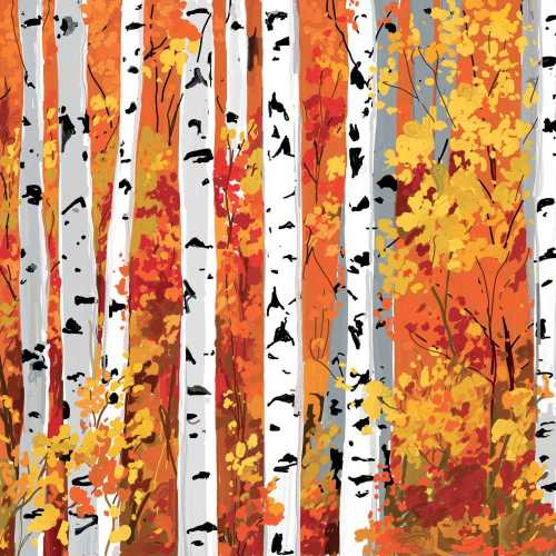 Paper Cocktail Napkins Autumn Birch Trees