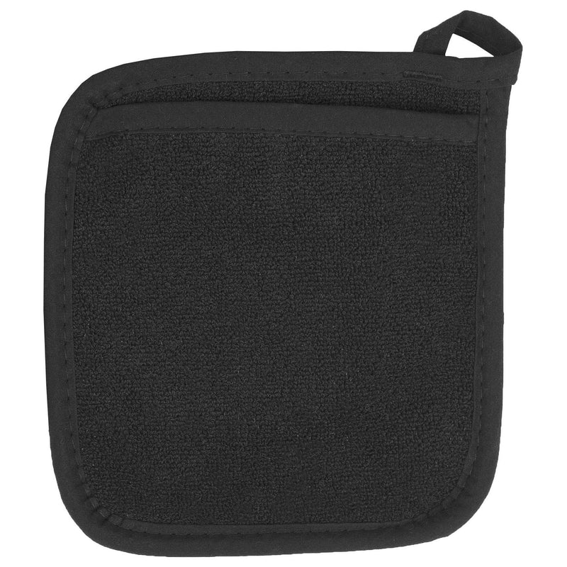Black Pocket Terry Cloth Potholder
