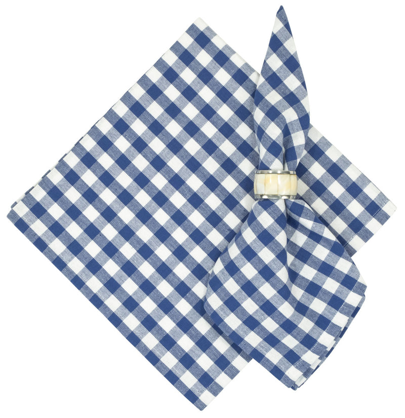Bistro Blue Checked Cotton Napkins