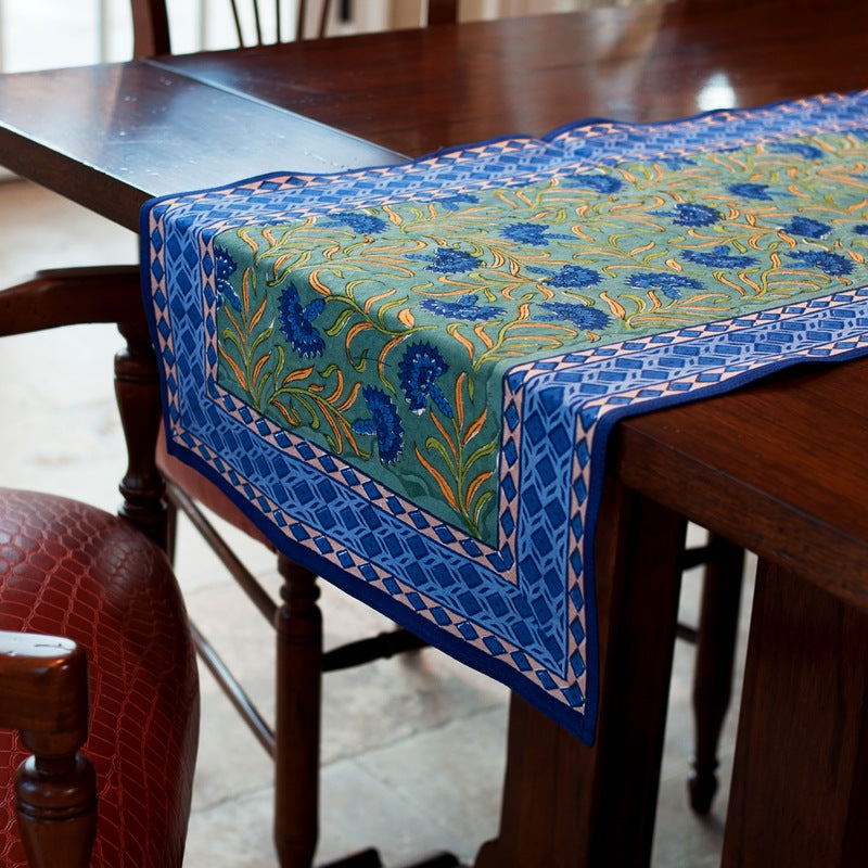 Green Blue Cornflower Table Runner