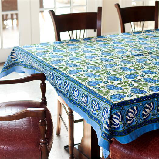 Blue Green Lotus 60X90 Tablecloth