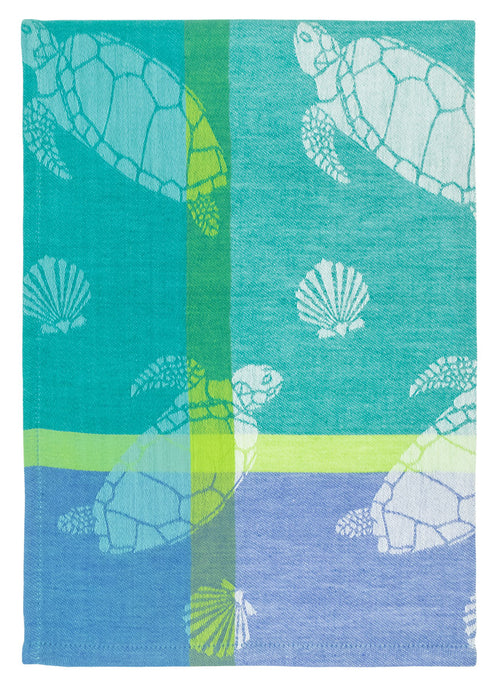 Aqua Sea Turtle Dish Jacquard Towel