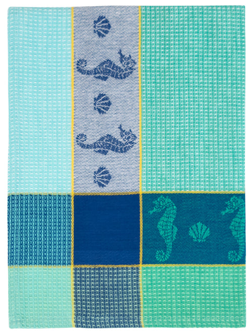 Blue Green Seahorse Waffle Weave Towel