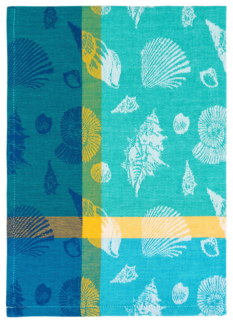 Blue Green Sea Shells Towel