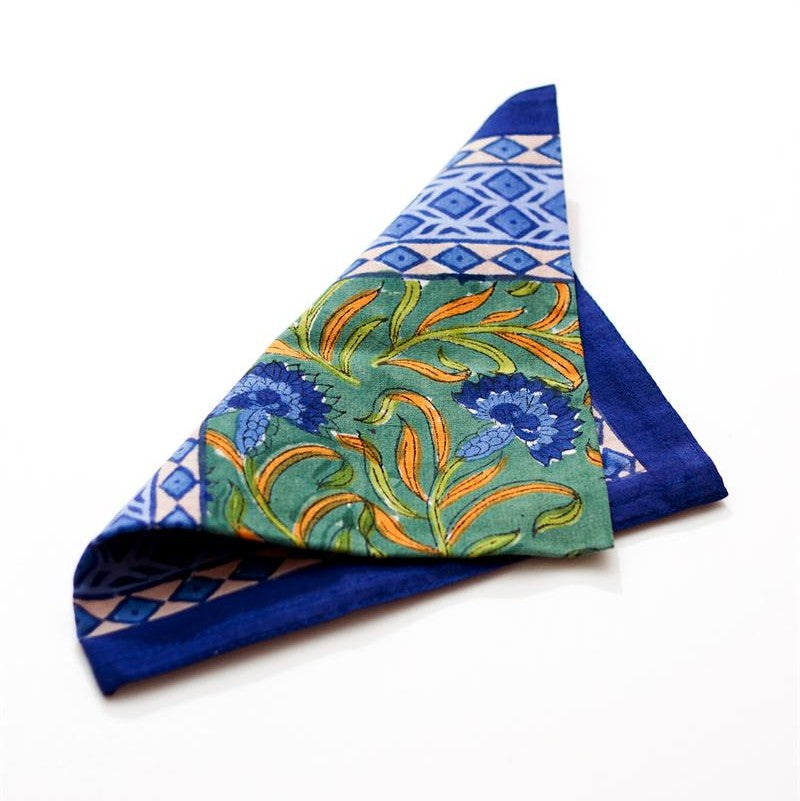 Blue Cornflower Cotton Block Print Napkin