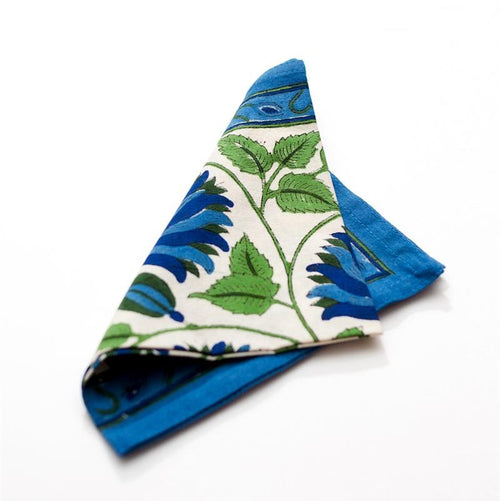 Blue Green Lotus Cotton Block Print Napkin