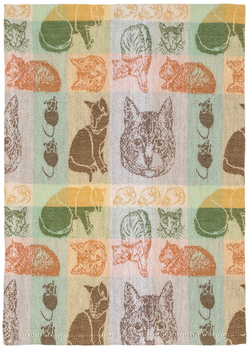 Brown Green Cat Collage Towel