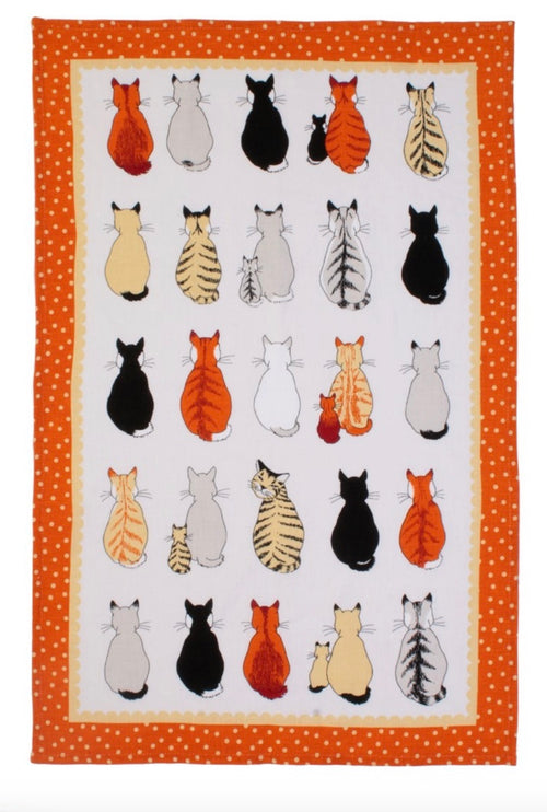 Cats in Waiting Linen Towel