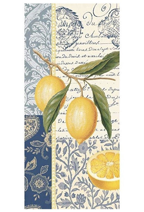 Citron Lemons Blue White Kitchen Towel