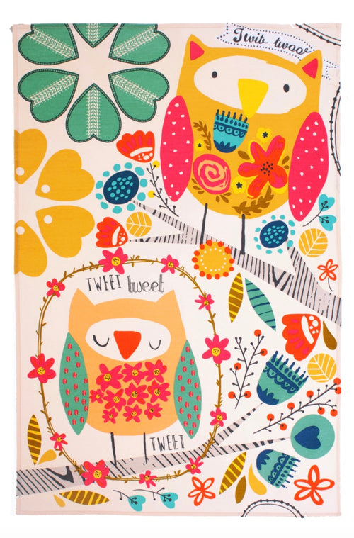 Colorful Owl with Flowers Dish Towel