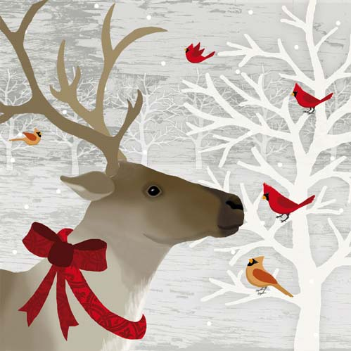 Holiday Paper Cocktail Napkin with Deer and Cardinals