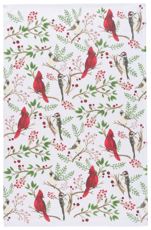 Winter Birds Cotton Flat Weave Dish Towel