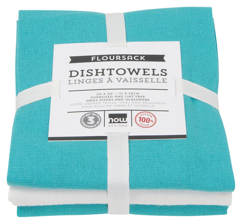 White Turquoise Cotton Flour Sack Dishtowel Set