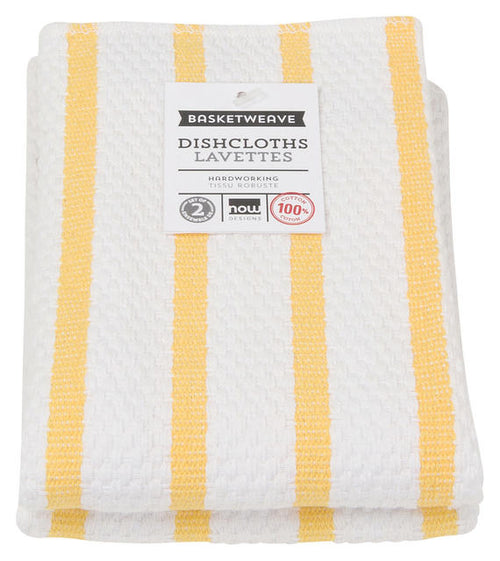 Yellow Striped Cotton Dishcloths Set Of Two