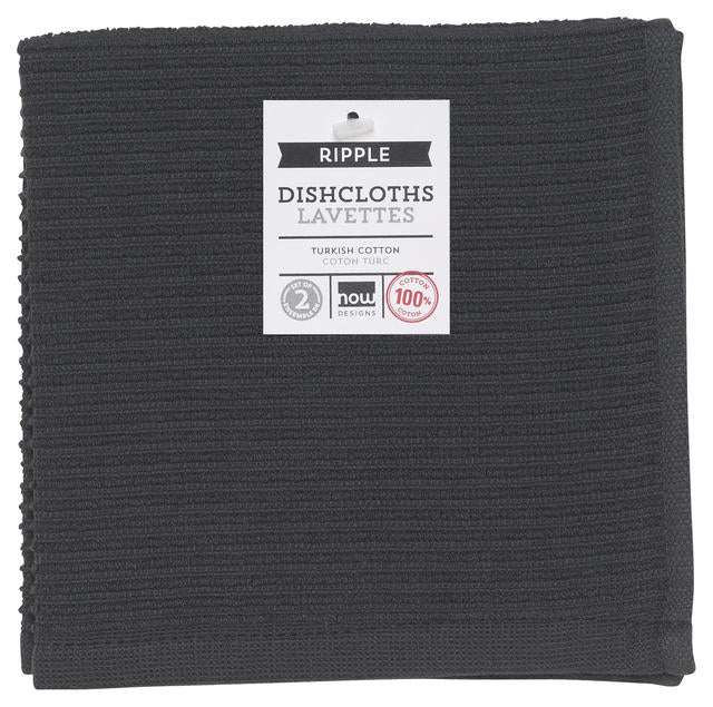 Black Ribbed Terry Cloth Dish Cloth Set of 2