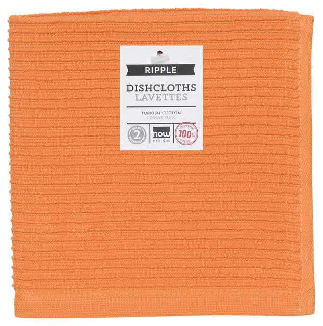 Orange Ribbed Cotton Dishcloths Set