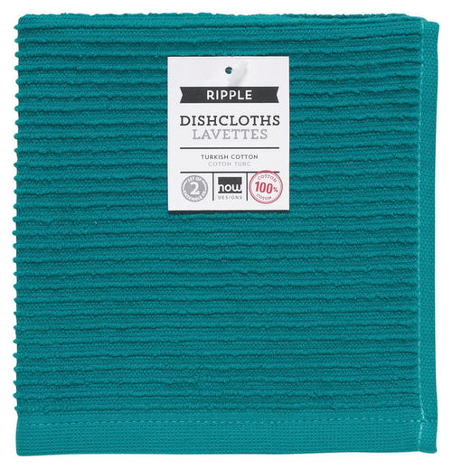 Dark Teal Ribbed Terry Dishcloths Set