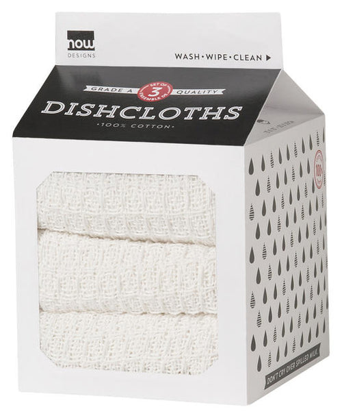White Cotton Waffle Weave Dishcloth Set of 3 In A Milk Carton