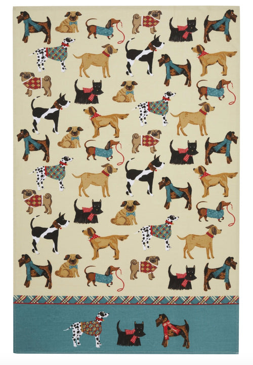 Dog Walk Cotton Tea Towel