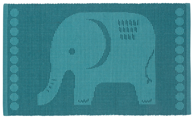 Teal Elephant Ribbed Kitchen Rug