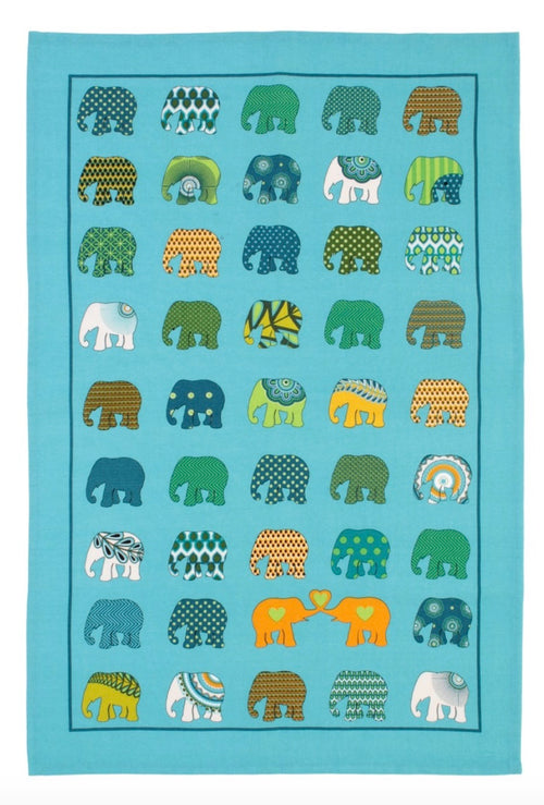 Elephants On Parade Cotton Dishtowel