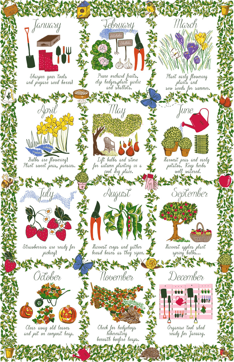 Cotton Gardeners Calendar Towel