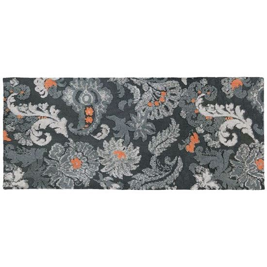 Gray Floral Kitchen Rug