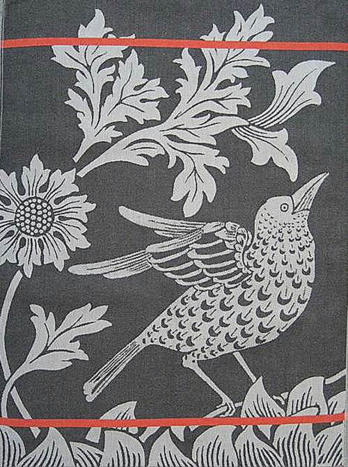 European Gray Black Bird Cotton Jacquard Towel