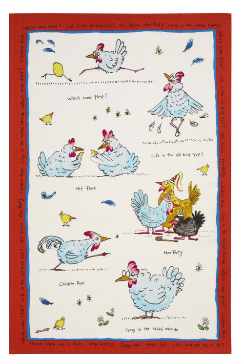 Hen Party Linen Tea Towel
