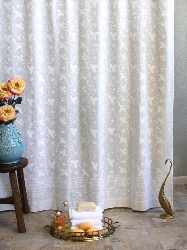 White Ivy Lace Block Print Shower Curtain