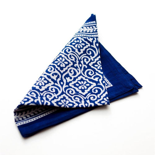 Jaipur Blue Cotton Block Print Napkin