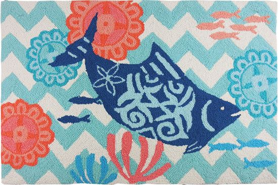 Fish On Chevron Kitchen Rug
