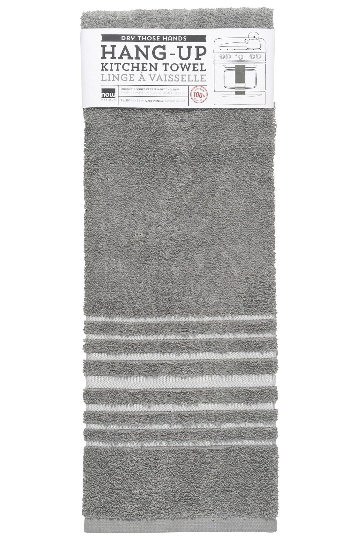 Gray Terry Hang Up Kitchen Towel